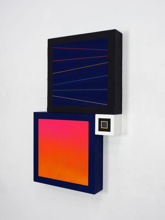 Richard Schur, Spatial Object, 2018, acrylic, wood, 80 x 50 x 9 cm  / 32 x 20 x 3,5 inch
