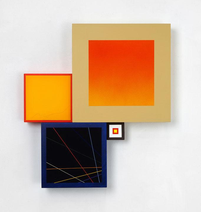Richard Schur, Spatial Object, 2018, acrylic, wood, 50 x 45 cm x 9 cm  / 20 x 18 x 3,5 inch, available at Kristin Hjellegjerde Gallery, London and Berlin