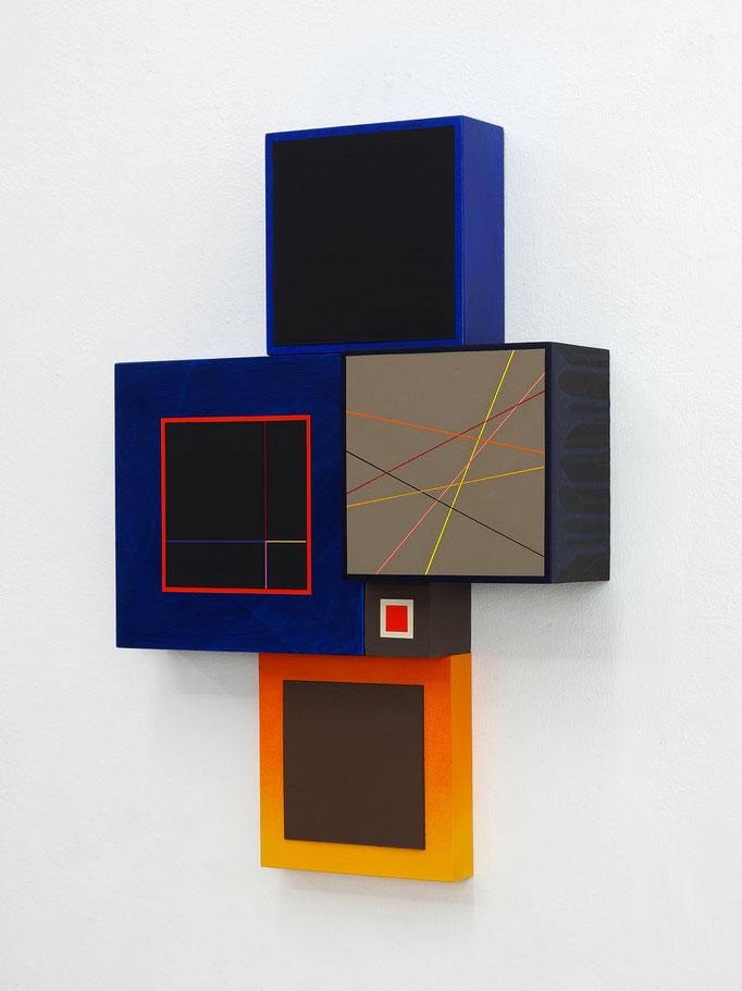 Richard Schur, Spatial Object, 2018, acrylic, wood, 50 x 35 cm x 9 cm  / 20 x 14 x 3,5 inch