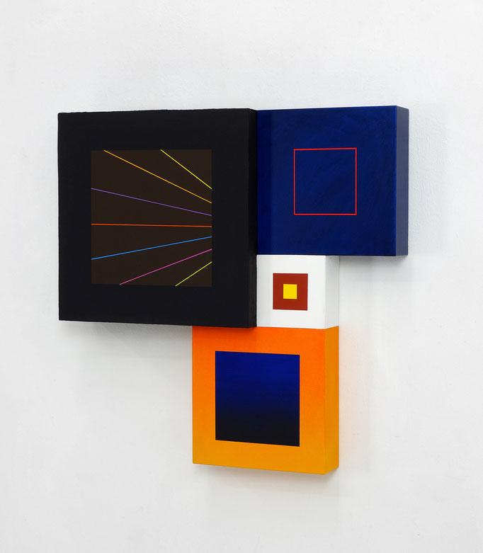 Richard Schur, Spatial Object, 2018, acrylic, wood, 50 x 50 x 9 cm  / 20 x 20 x 3,5 inch