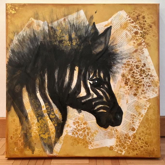 """""""Buchbild"""" - Zebra / 25 x 25 cm (Acquarell)"""