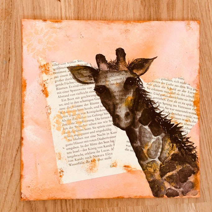 """Buchbild"" - Giraffe / 25 x 25 cm (Acquarell)"