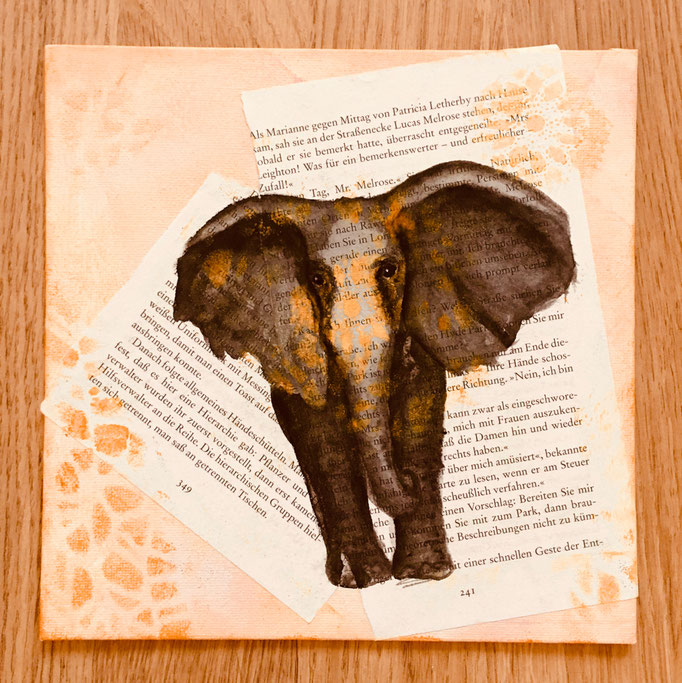 """Buchbild"" - Elefant / 25 25 cm (Acquarell)"