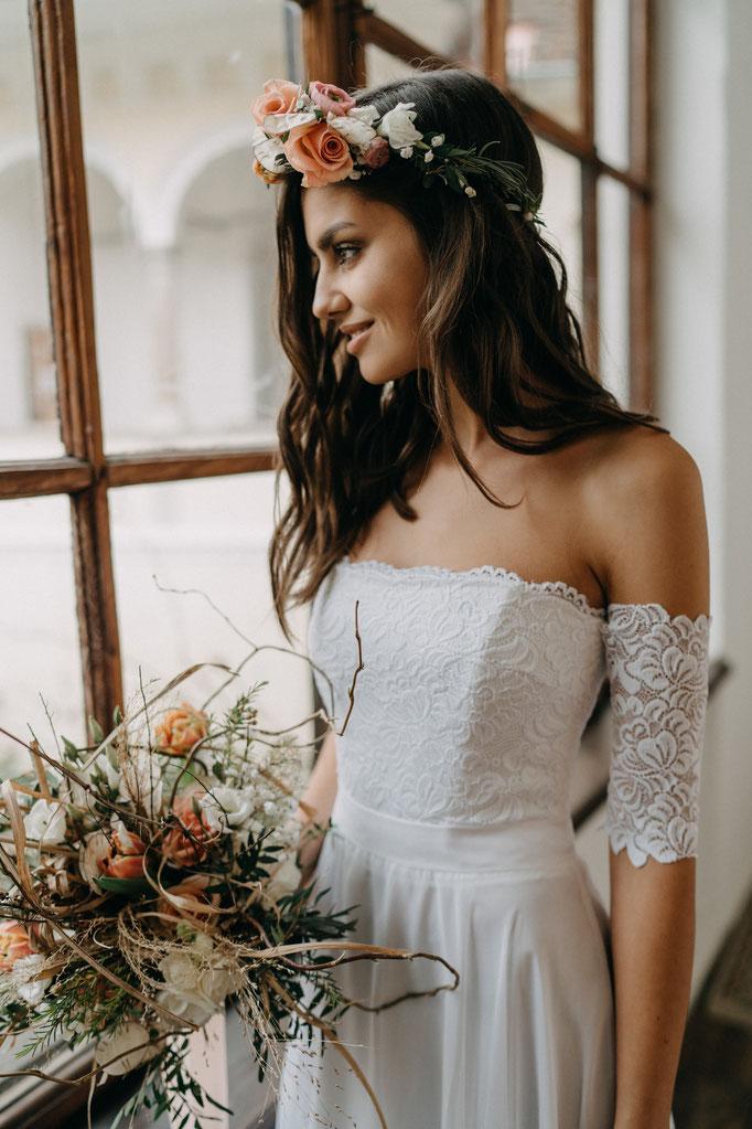 Brautkleid mit Spitze Chiffon Boho Hochzeit Strandhochzeit