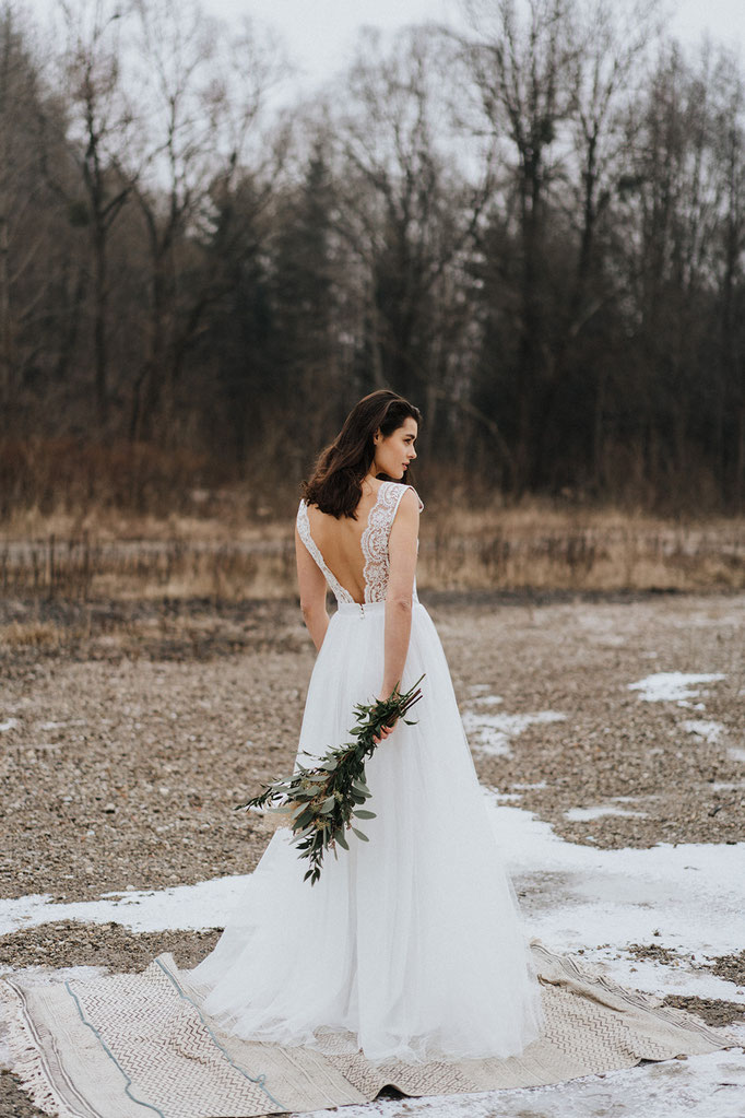 Brautkleid boho spitze Vintage Hochzeitskleid Brautmode