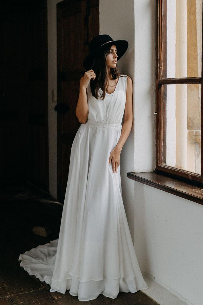 Brautkleid Chiffon Spitze Boho Hochzeit Strandhochzeit