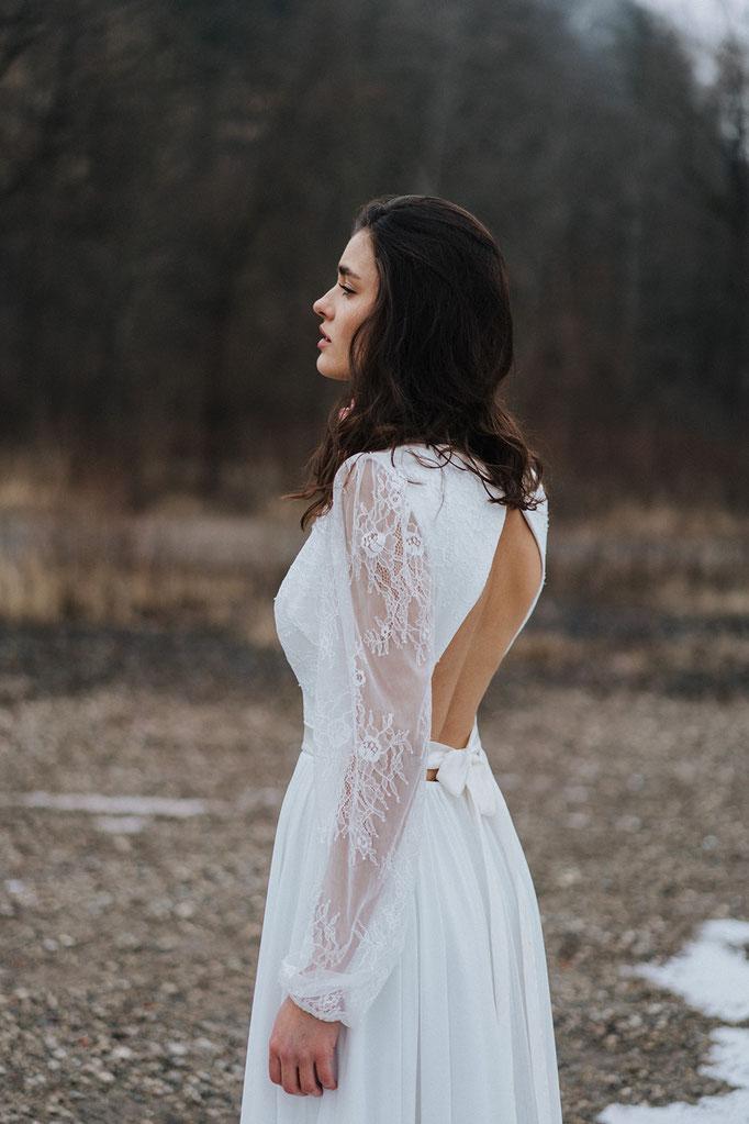 Brautkleid mit Spitze Tüll Boho Hochzeit Brautmode Hochzeitskleid