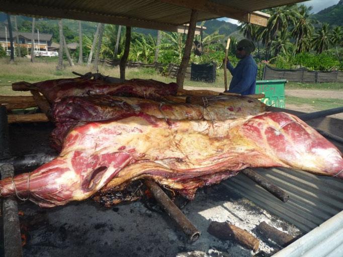 Asando la carne parala boda
