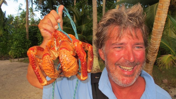 Colin con el hermoso cangrejo