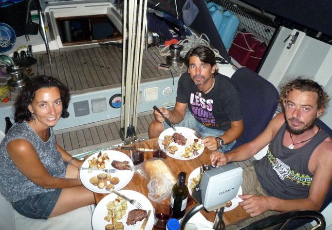 Con Quim y Mateu, del Bora Bora, el día previo a su partida hacia Bali