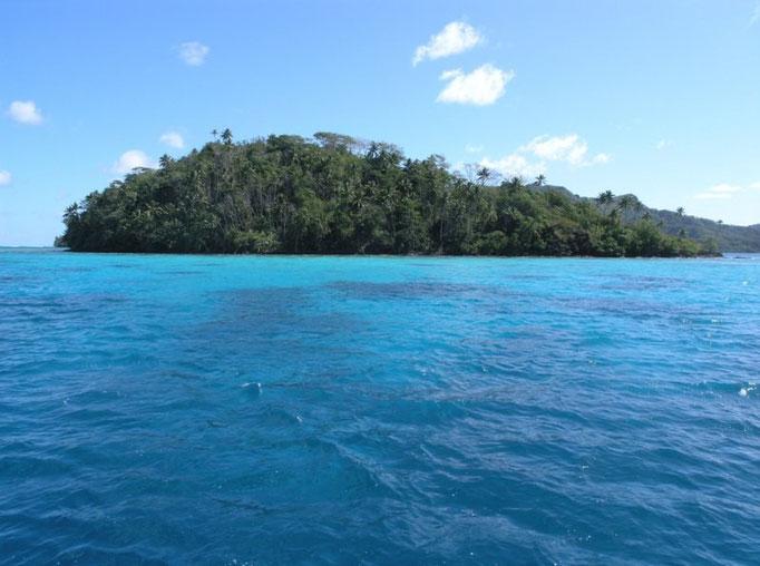 Motu Araara, separa las dos entradas a Port Bourayne