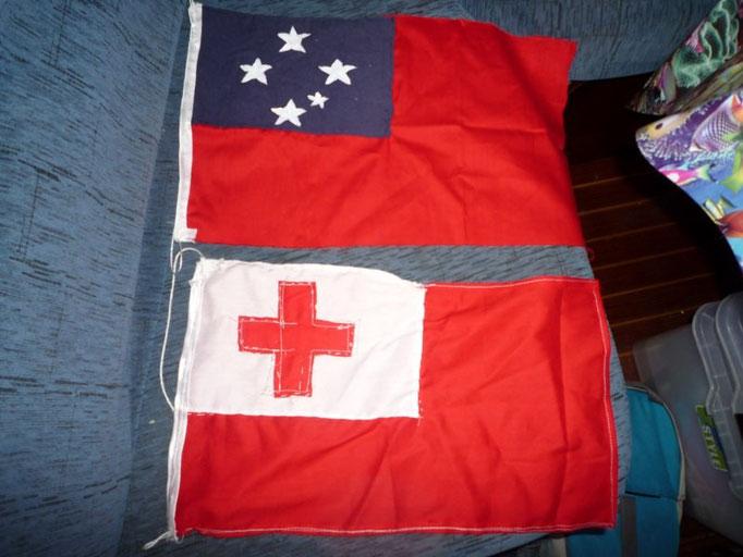 Autobanderas de Samoa y Tonga
