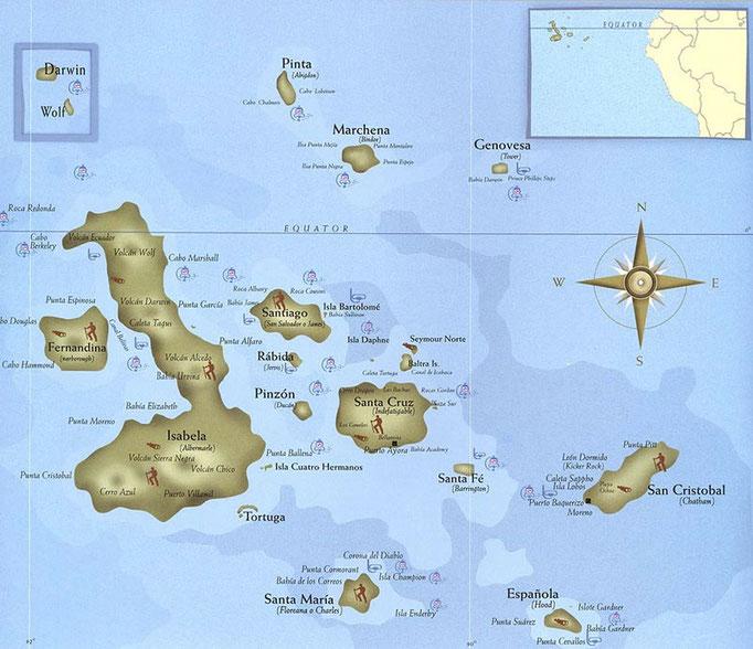 Mapa de las Galápagos