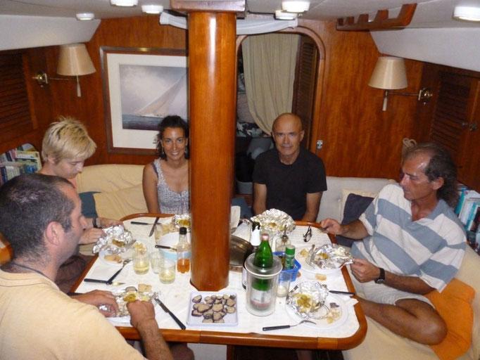 Cena en el barco de nuestros amigos italianos