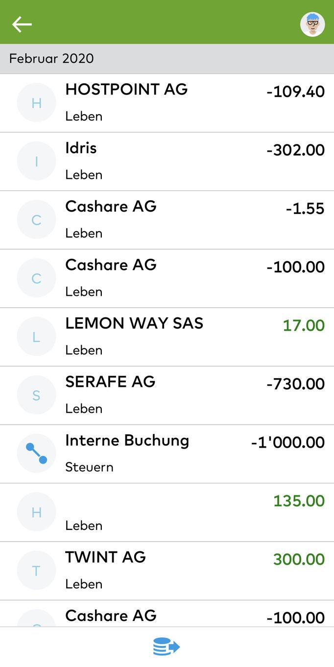 Zak Übersicht über Zahlungen