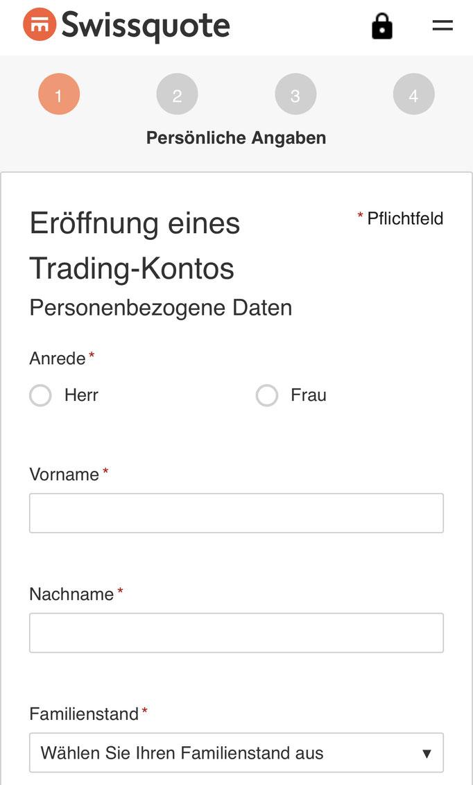 Swissquote im Webbrowser Personenbezogene Daten