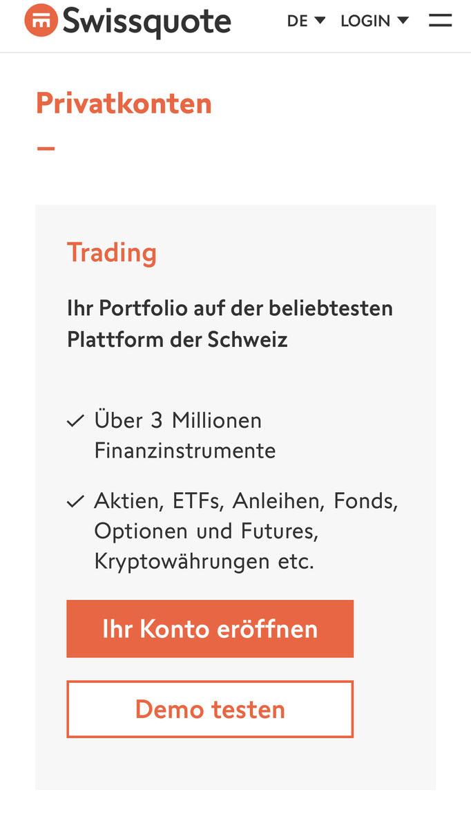 Swissquote im Webbrowser Trading
