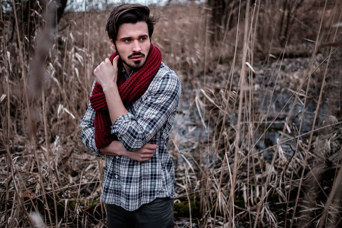 male Model, Bart, lässig, Fotograf, Karlsruhe, Outdoor, Portrait, Winter, Hemd, Fotoshooting, Schal,