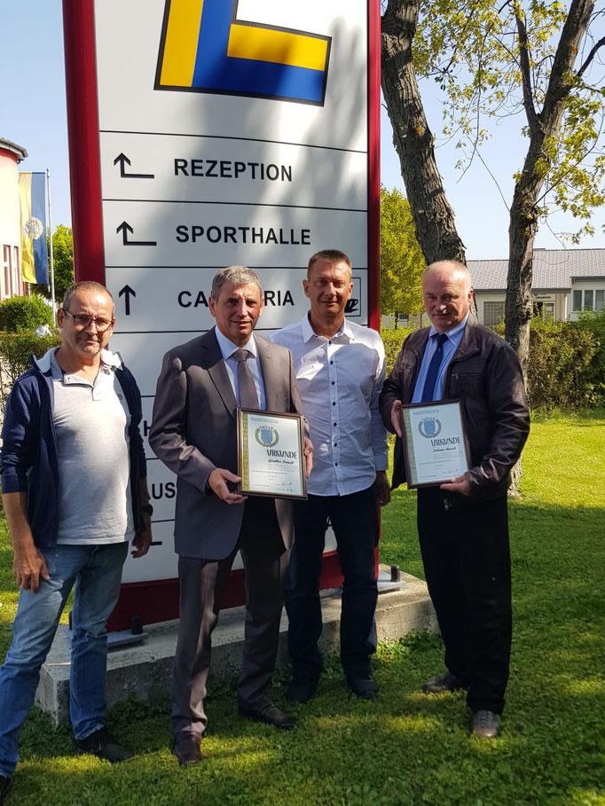 v.l.: GL-Stv. Gerhard Ratzberger, Günther Kröpfl, GL Leopold Deimel, Johann Rauch (Nadine Winkler am Abzug)