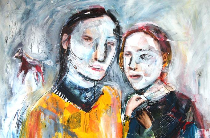 """""""Zwei Schwestern"""" (September 2018), freie Arbeit, Acryl auf Collage"""
