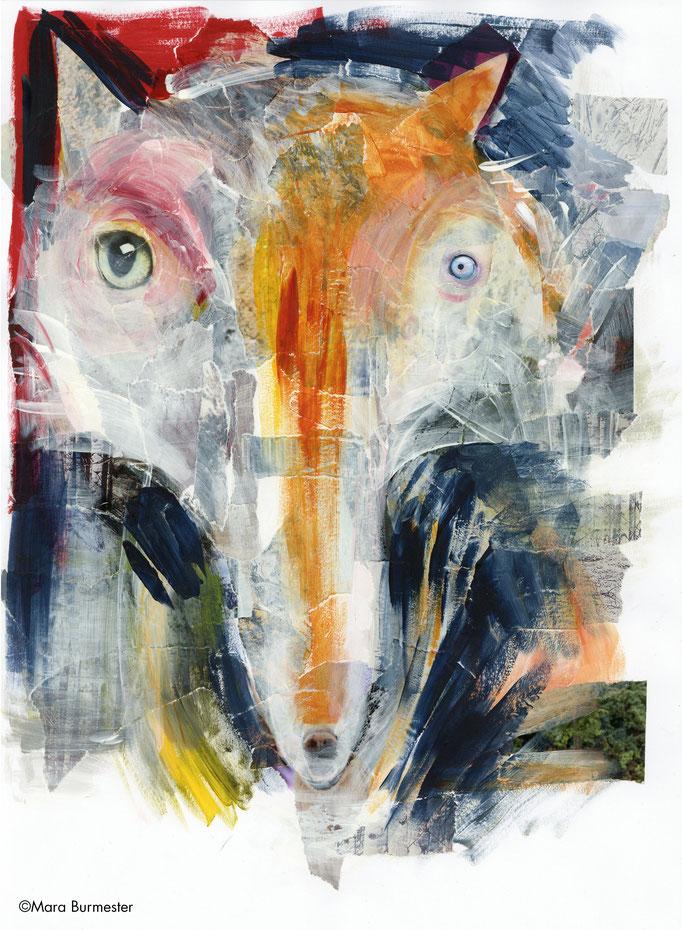 """""""Fuchs""""( März 2016), freie Arbeit, Acryl auf Papiercollage"""