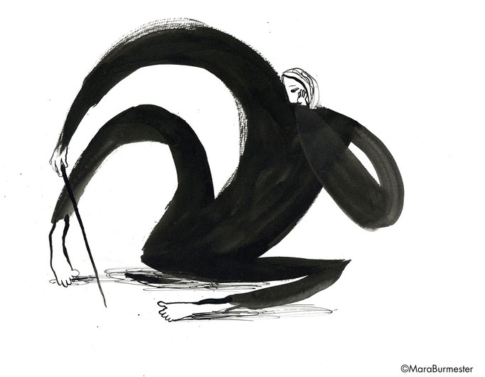"""""""Langeweile""""(2018), Zeichnung aus der Reihe """"Emotionen"""", Tinte mit Stahlfeder/Pinsel"""