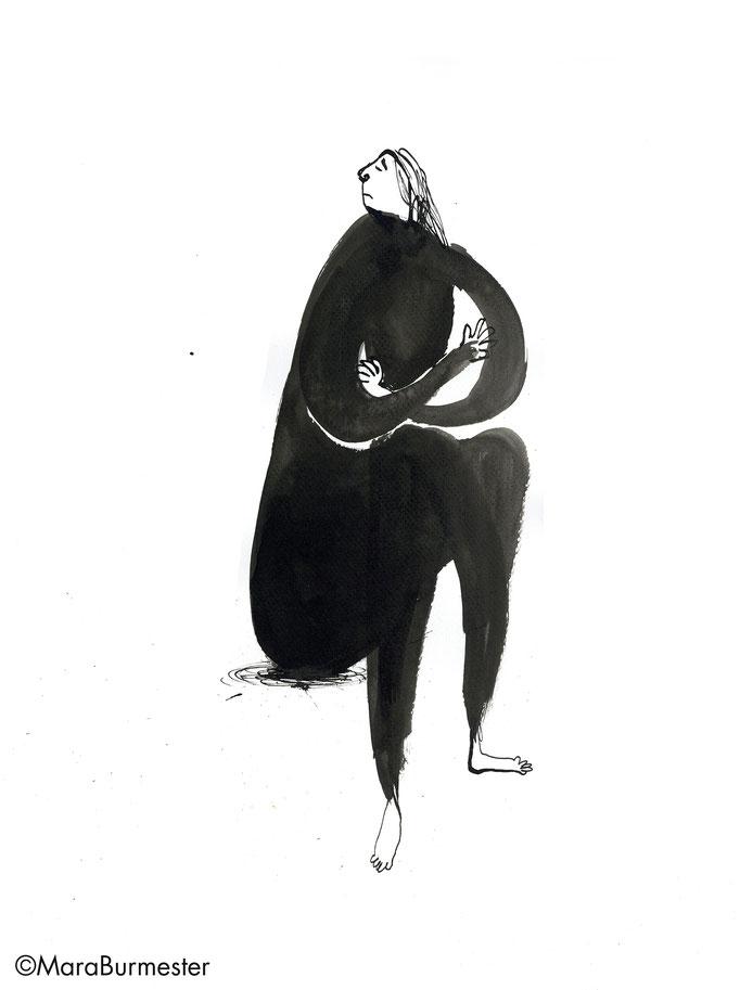 """""""Beleidigte Leberwurst""""(2018), Zeichnung aus der Reihe """"Emotionen"""", Tinte mit Stahlfeder/Pinsel"""