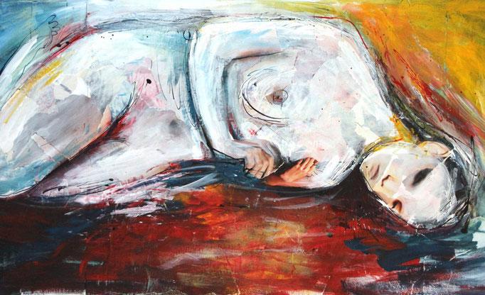 """""""Liegender Akt"""" (September 2018), freie Arbeit, Acryl auf Collage"""