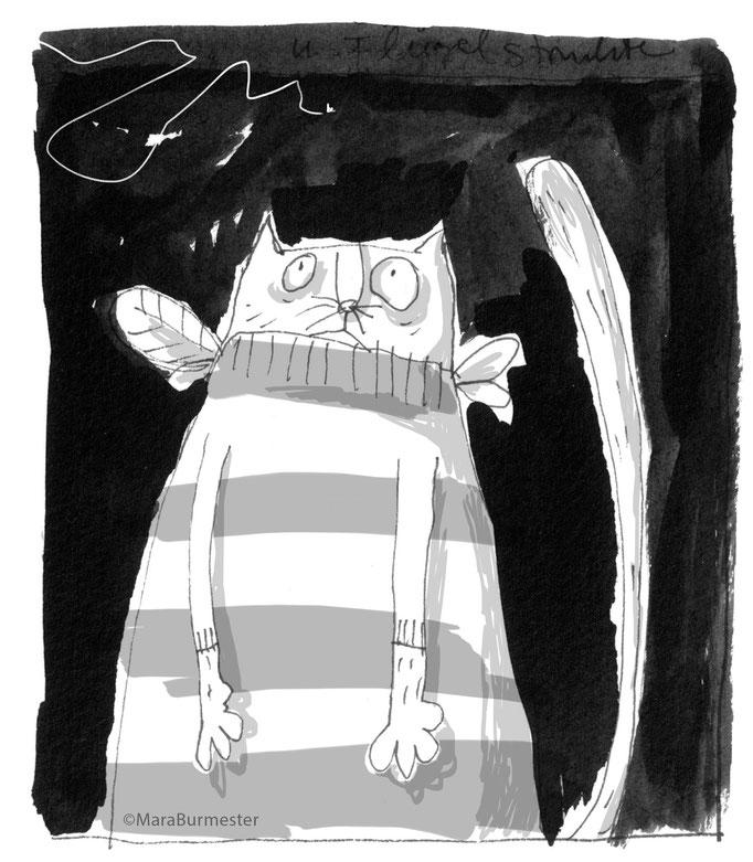 """""""Katze im Bienenkostüm""""(2018), Illustration aus dem Buch """"Bienensterben"""" (freies Projekt, nicht veröffentlicht), Tinte mit Stahlfeder, digital bearbeitet"""