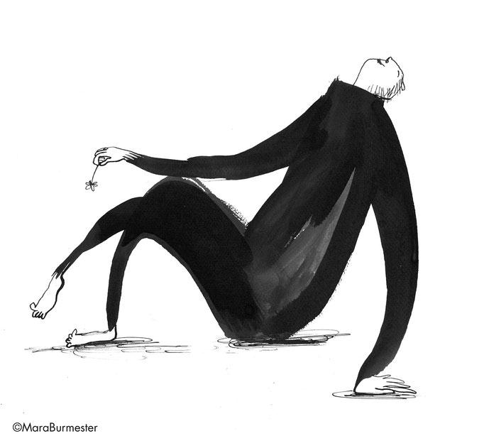 """""""Zufriedenheit""""(2018), Zeichnung aus der Reihe """"Emotionen"""", Tinte mit Stahlfeder/Pinsel"""