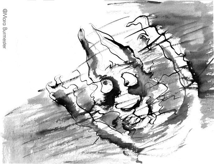 """""""Grimasse""""(2013), Illustration aus dem Buch """"Alfred""""(freies Projekt, nicht veröffentlicht), Tinte mit Stahlfeder und Pinsel"""