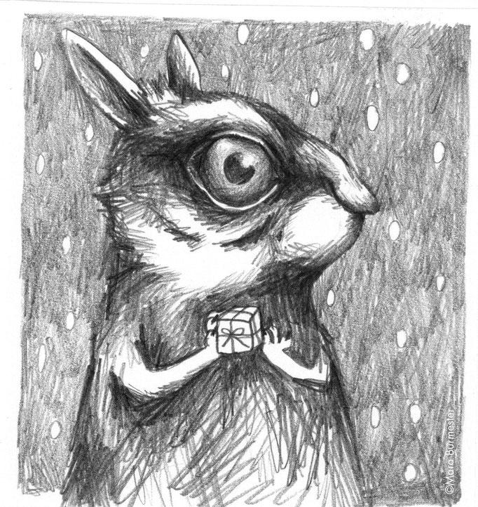 """""""Kaninchen""""(Dezember 2015), freie Arbeit - Motiv für Weihnachtskarte, Bleistift auf Zeichenkarton"""