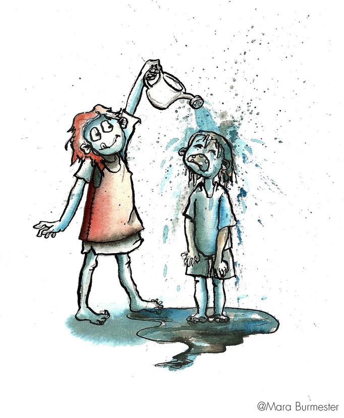 """""""Kinder""""(2013), Illustration für einen Buchentwurf,  gemischte Technik: Tinte und Stahlfeder, koloriert mit Aquarell"""