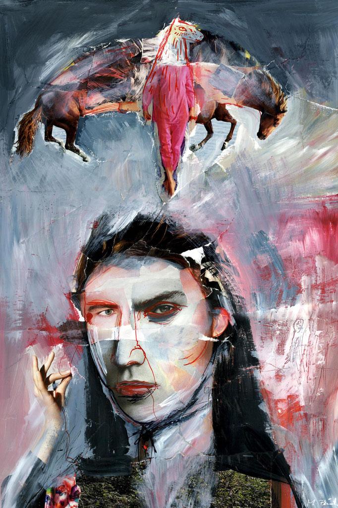 """""""Mann mit Pferd (August 2018), freie Arbeit, Acryl auf Collage"""