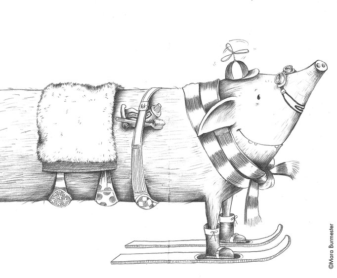 """""""Reiseschwein"""" (Dezember 2014), freie Arbeit - Motiv für Postkarte, Bleistift auf Zeichenpapier"""