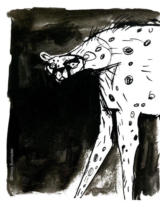 """""""Gepard""""(März 2017), freie Arbeit aus der Serie """"Tierstudien"""", Tinte und Stahlfeder"""