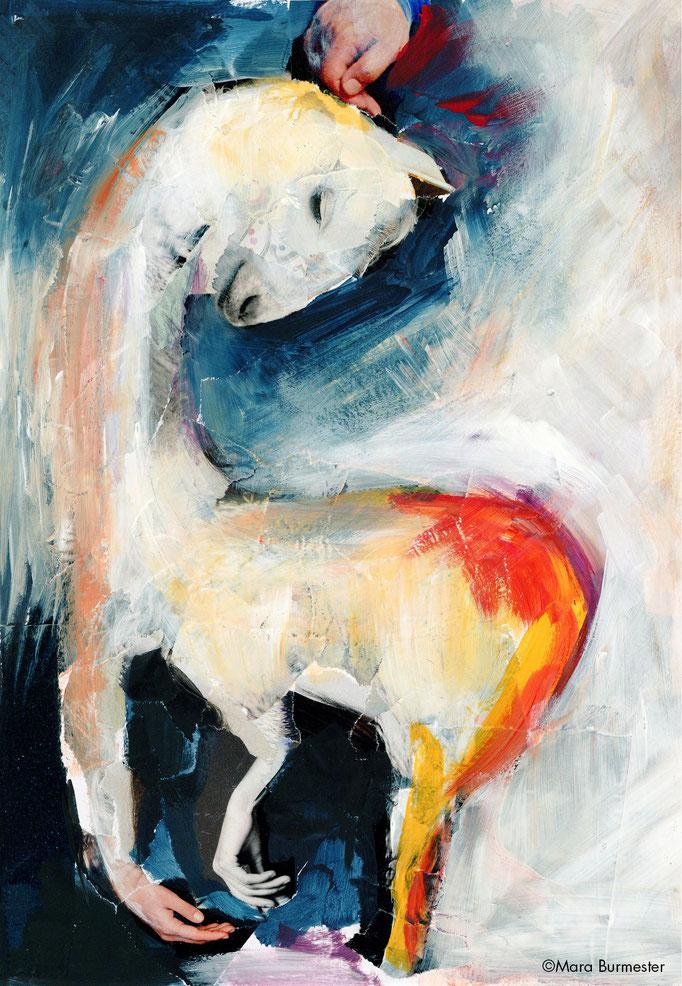 """Geliebtes Lama""(November 2016), freie Arbeit, Acryl auf Papiercollage"