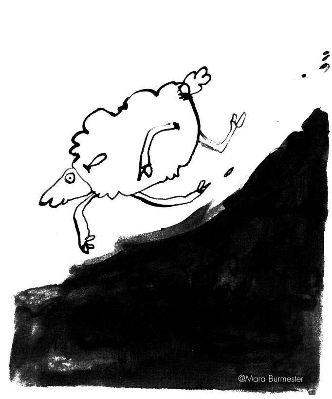 """""""Schaf""""(März 2017), freie Arbeit aus der Serie """"Tierstudien"""", Tinte und Stahlfeder"""