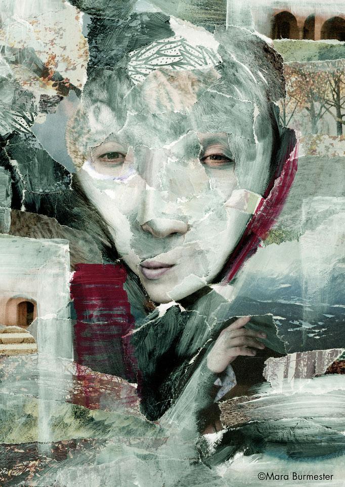 """""""Geist""""(März 2016), freie Arbeit, Acryl auf Papiercollage"""