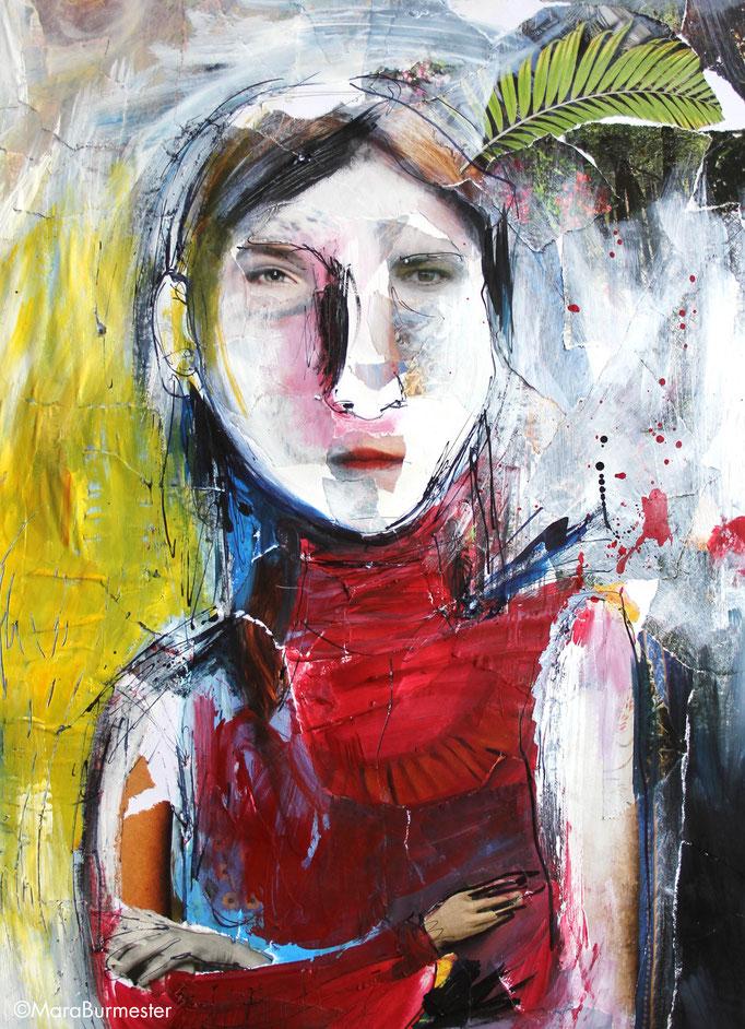 """""""Kriegerin"""" (August 2018), freie Arbeit, Acryl und Tinte auf Papiercollage"""