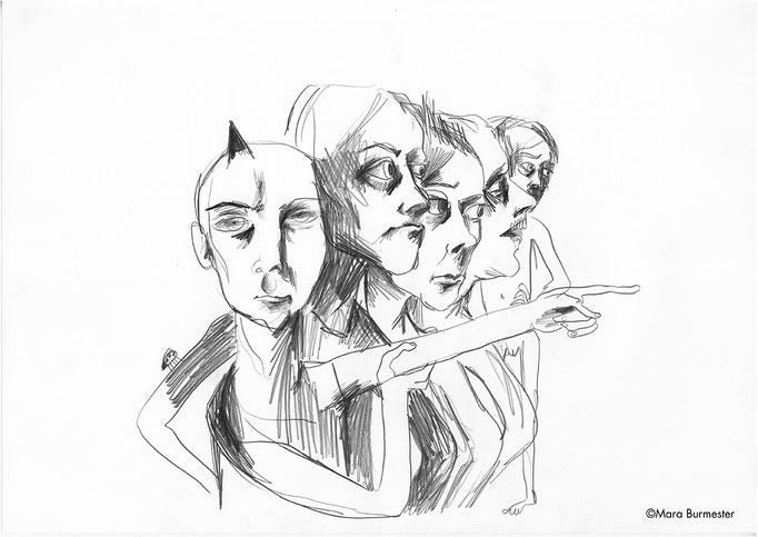 """""""Gruppe"""" (Juni 2015), freie Arbeit aus der Serie """"Träume"""", Bleistift auf Zeichenpapier"""