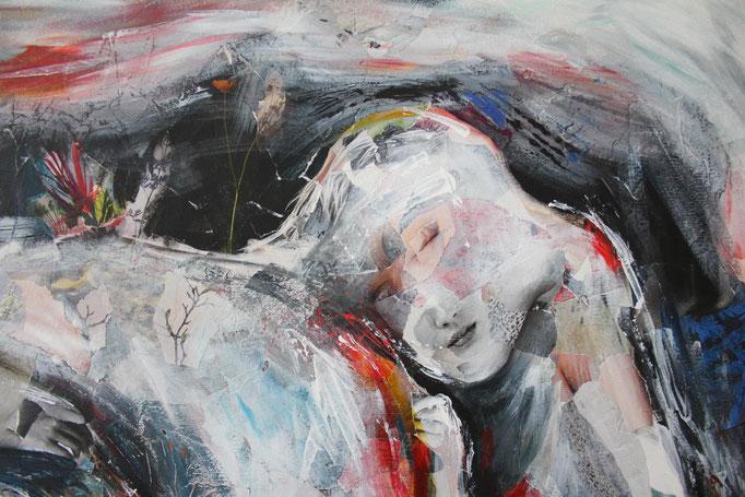 """Auszug aus dem Bild """"Mutter und Kind"""" (Januar 2019), freie Arbeit, Acryl auf Collage auf Leinwand (120 x 100cm)"""