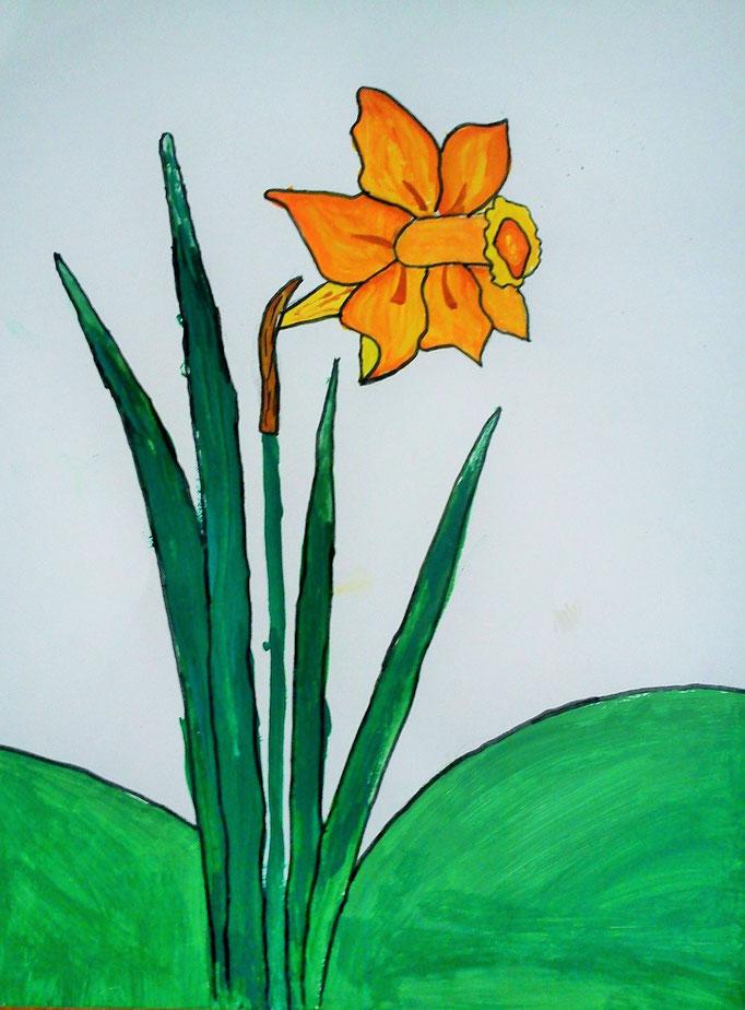 """Ілюстрація до міфу """"Нарцис"""". Робота учениці 6 класу Бочелюк Світлани"""