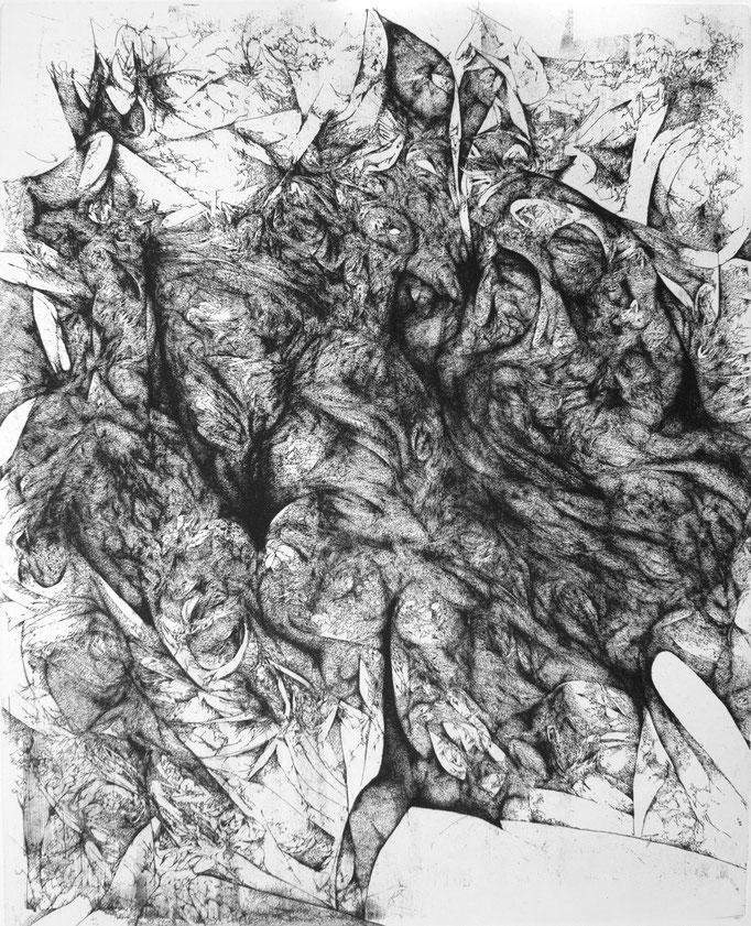 En silence I - eau forte - 50 x 40 cm - 2018