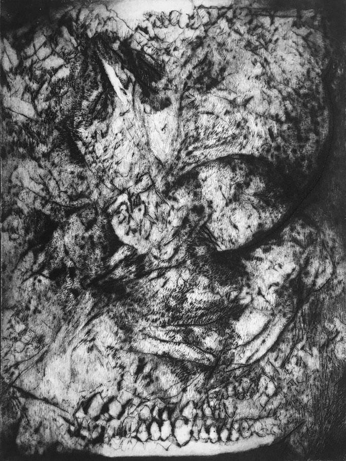 La Visite - pointe sèche - 15 x 10 cm - 2020