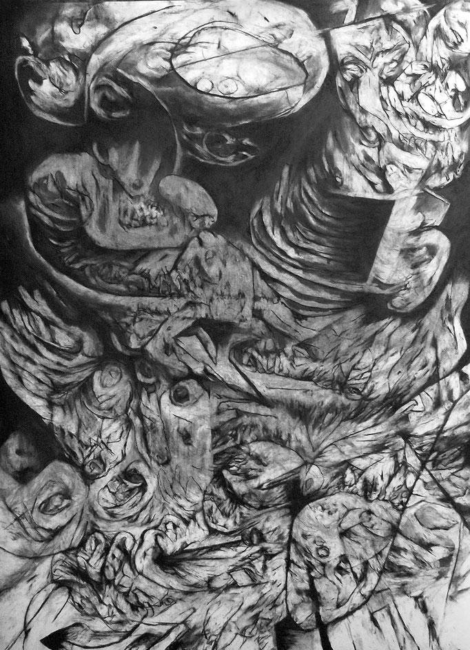 Interruption - fusain sur papier - 100 x 70 cm -2016