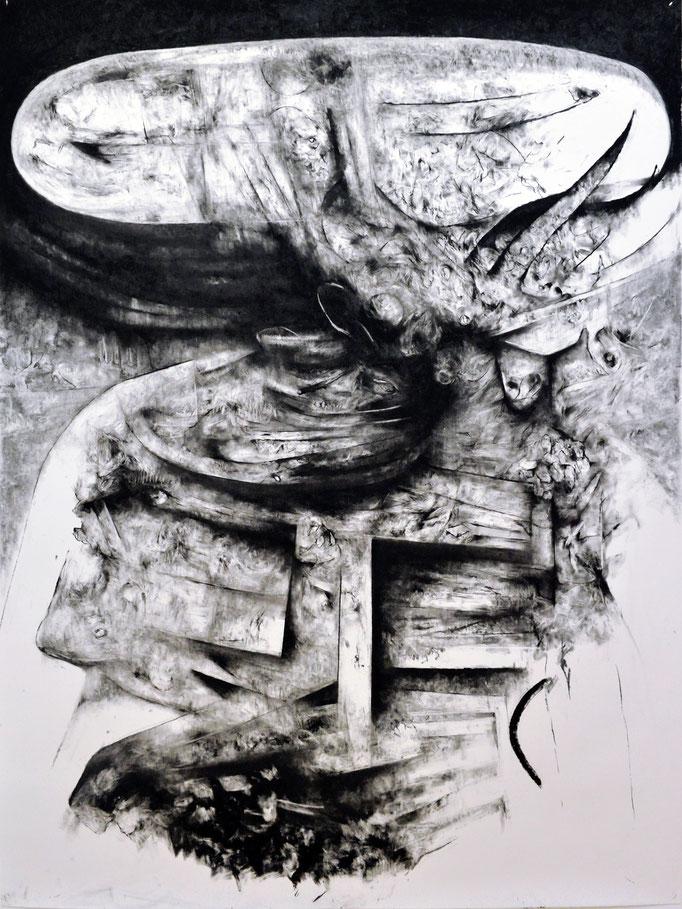 Un Autre Âge - fusain sur papier - 200 x 150 cm - 2017