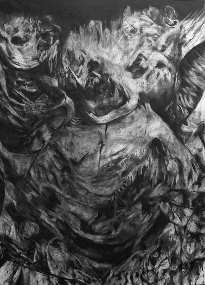 Entretemps - fusain sur papier - 100 x 70 cm - 2016