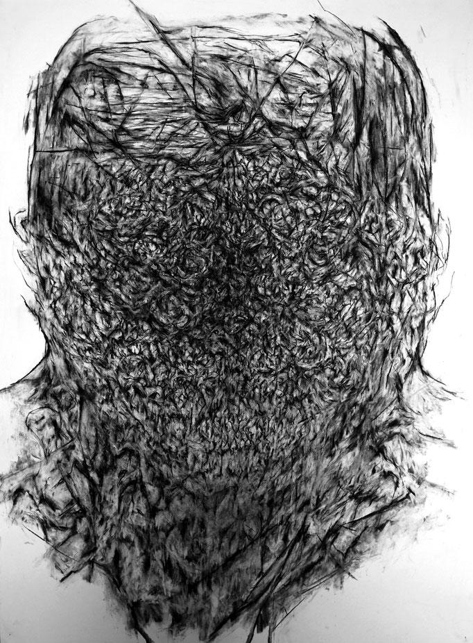 Avec le Sourire - fusain sur papier - 100 x 70 cm - 2014