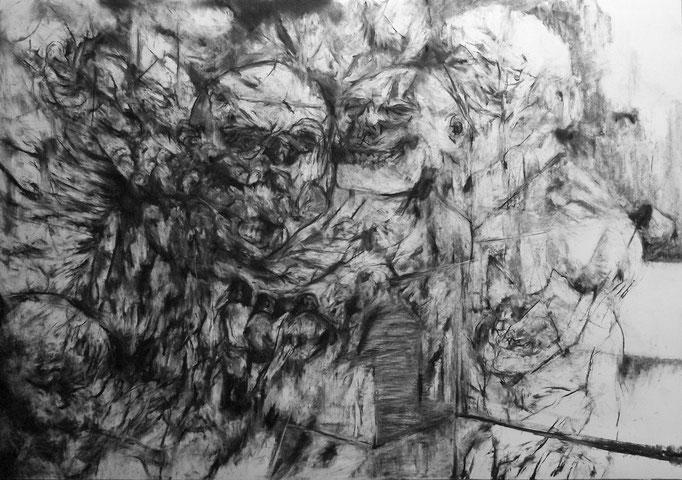 Le Siège - fusain sur papier - 70 x 100 cm - 2015